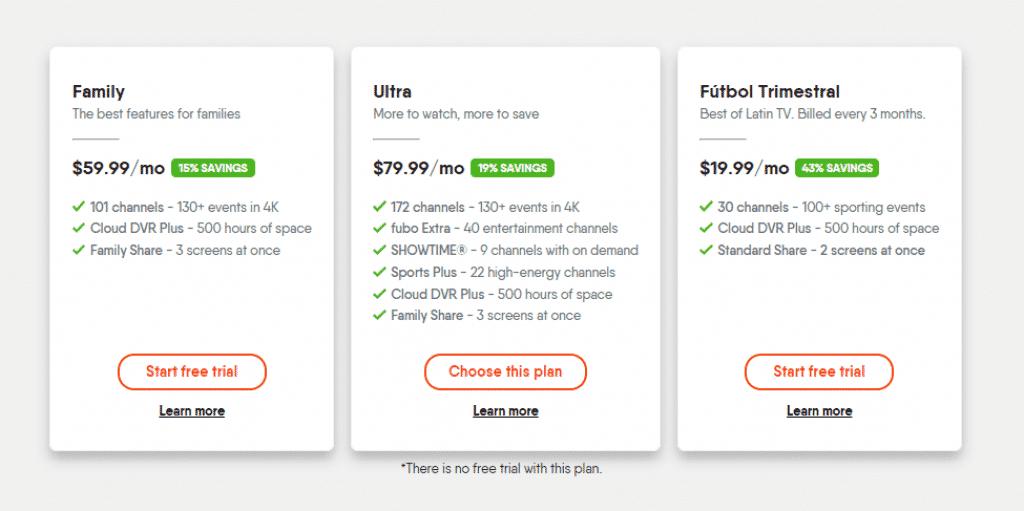 FuboTV subscription plans