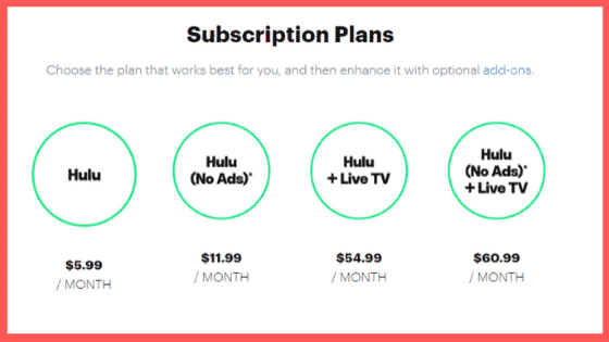 Hulu subscription plans