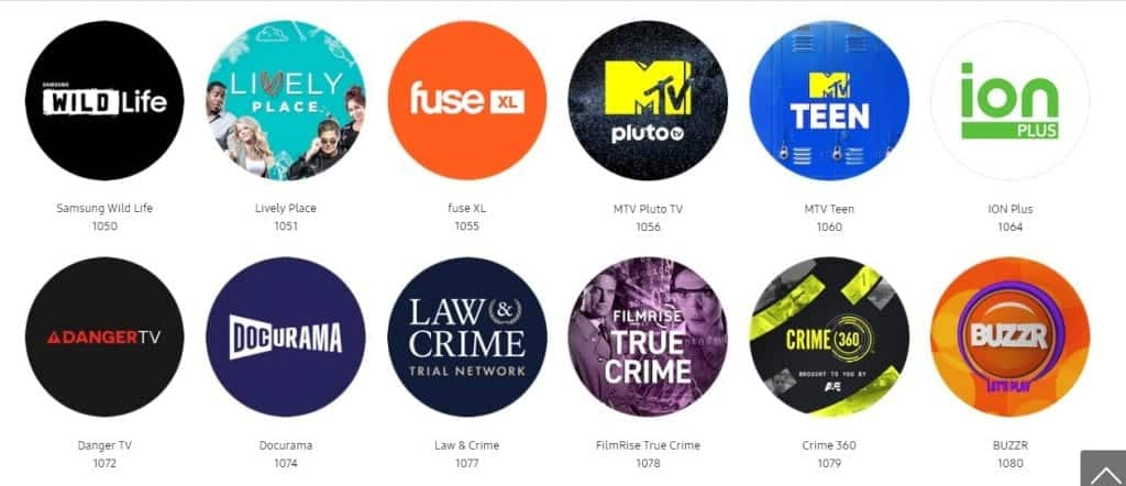 Samsung Free channels list