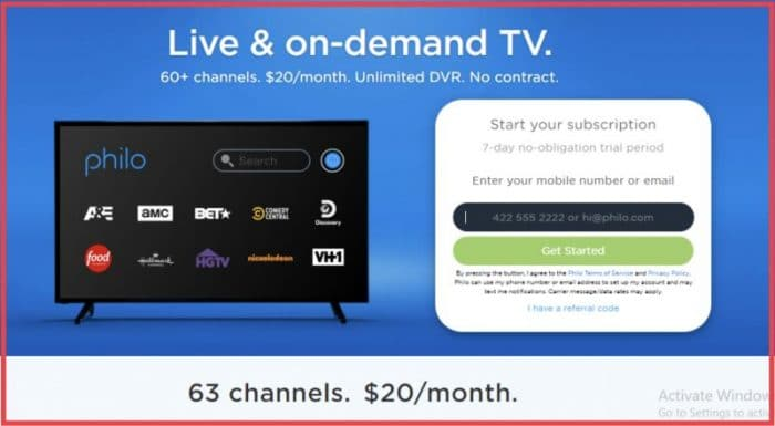 Philo TV free trial sign up