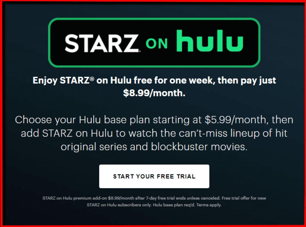 STARZ Hulu subscription