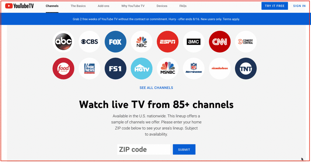 Live TV streaming service Channels