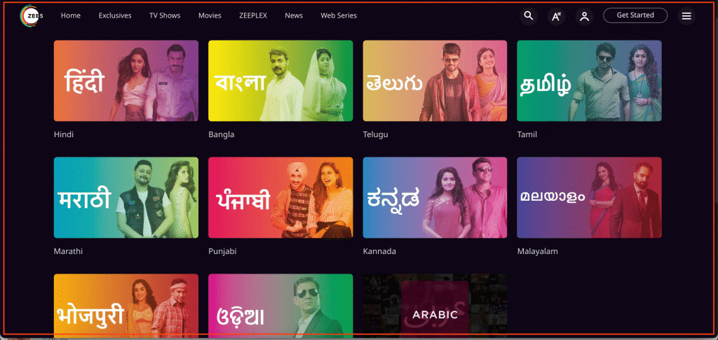 Zee5 languages